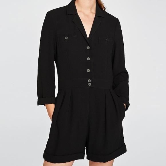 2fee399d53de Zara black short crepe jumpsuit